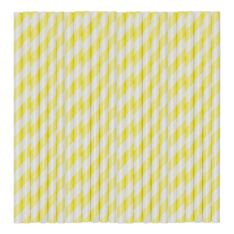Pastel Yellow Stripe Paper Party Straws