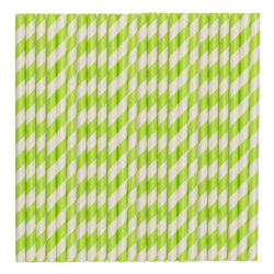Pastel Green Stripe Paper Party Straws