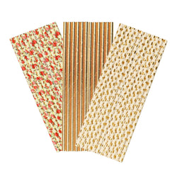 Gold Flower Paper Party Straws