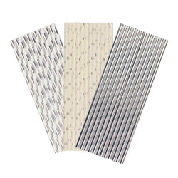 Silver White Flower Paper Party Straws