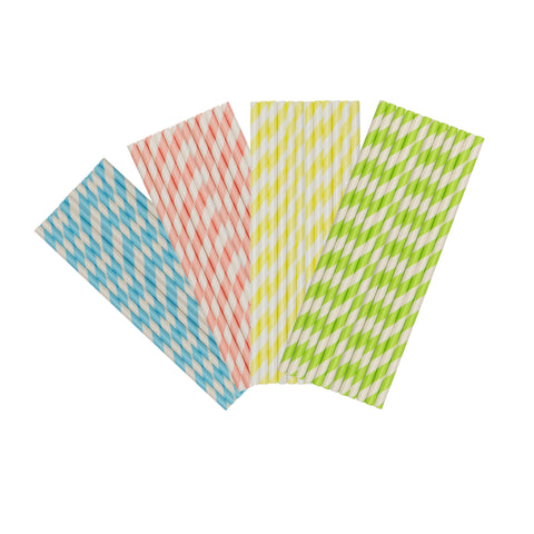 Mix Pastel Stripe Paper Party Straws
