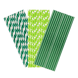 Green Paper Party Straws