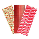 Red & Flower Paper Party Straws