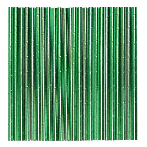Green Metallic Paper Party Straws