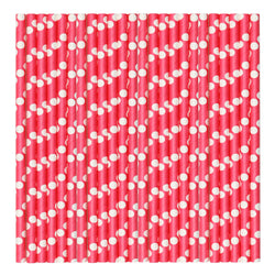 Red & White Polka Pastel Paper Party Straws.