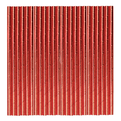 Red Metallic Paper Party Straws