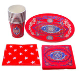 Red Ornate Floral Matching Eid Tableware Set