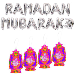 Ramadan Kareem Foil Balloon Set - Silver + 4 Pink Lantern Decorations
