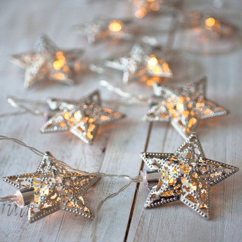 10 Silver Ornate Star Battery Operated LED Fairy Lights