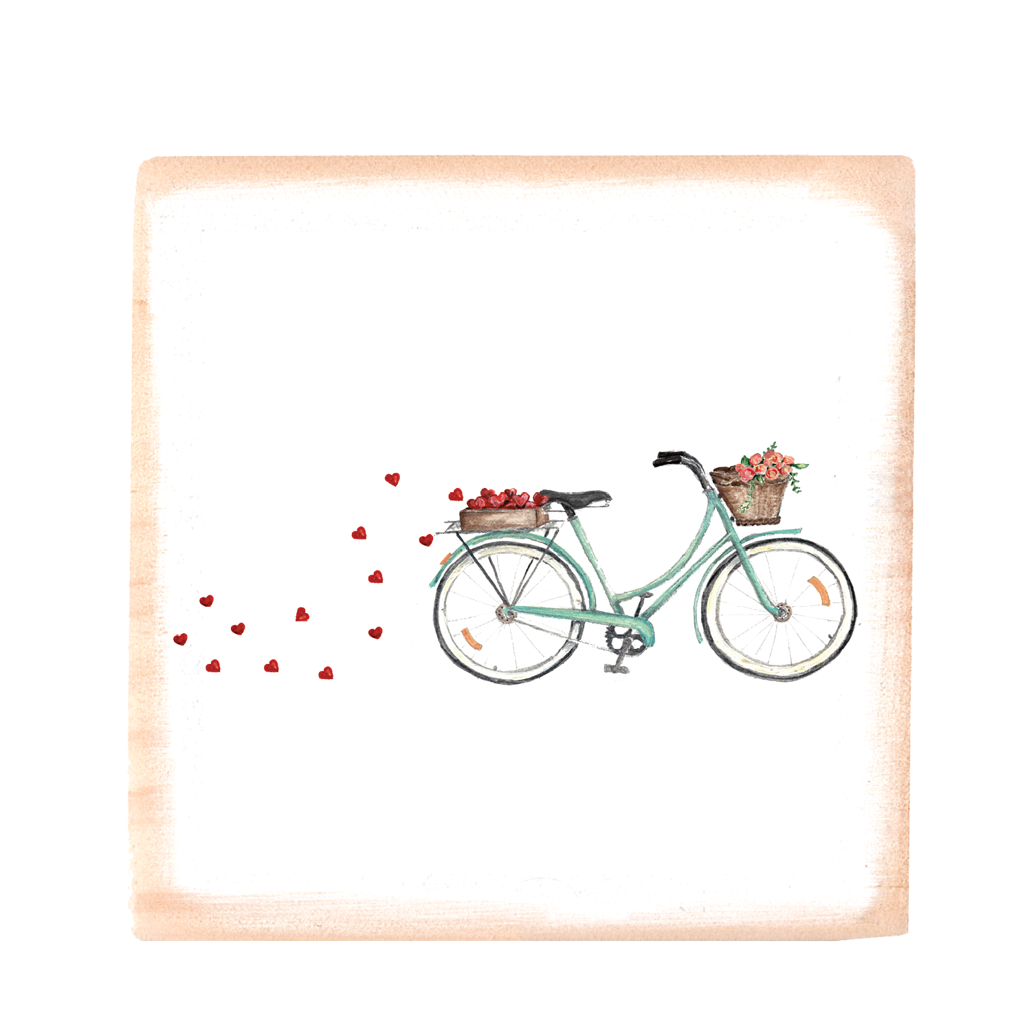 seafoam bike with hearts + roses