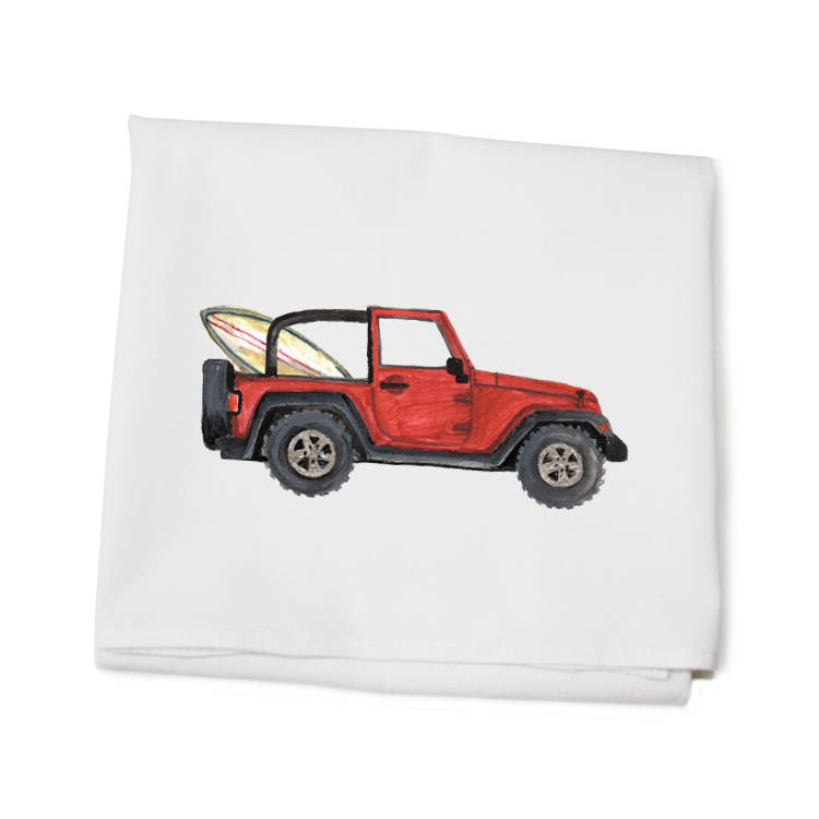 red jeep + surf board