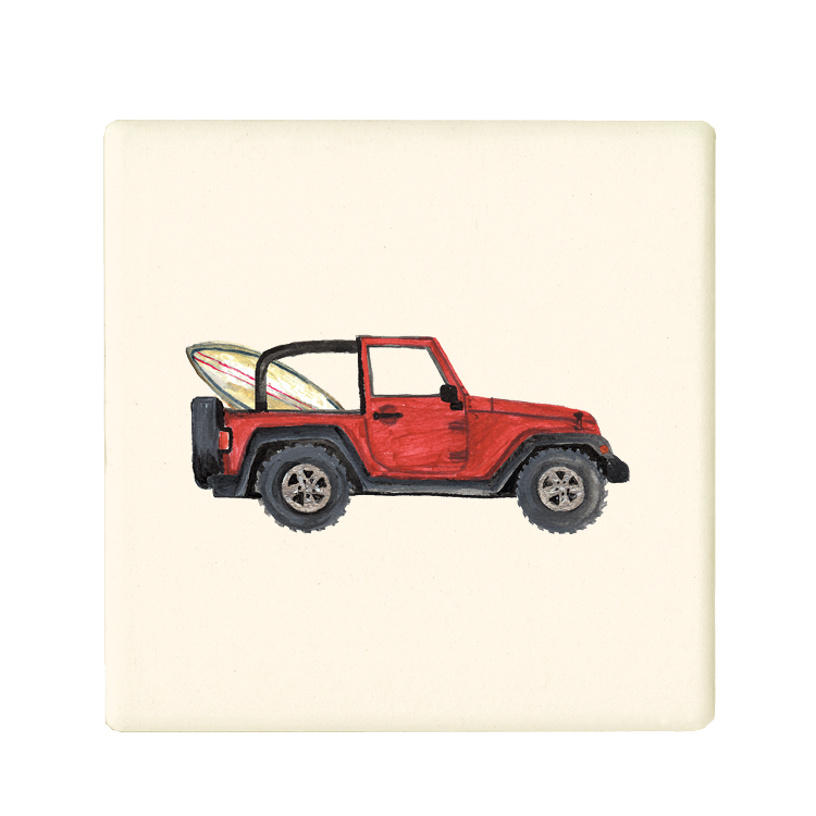 red jeep + surfboard