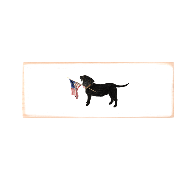 black lab + flag