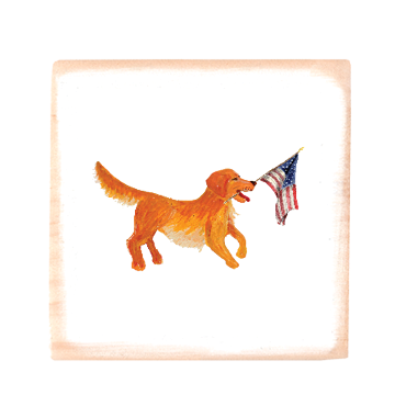 golden retriever + flag