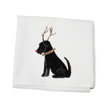 lab with antlers and red nose