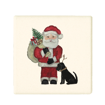santa with  sack and lab