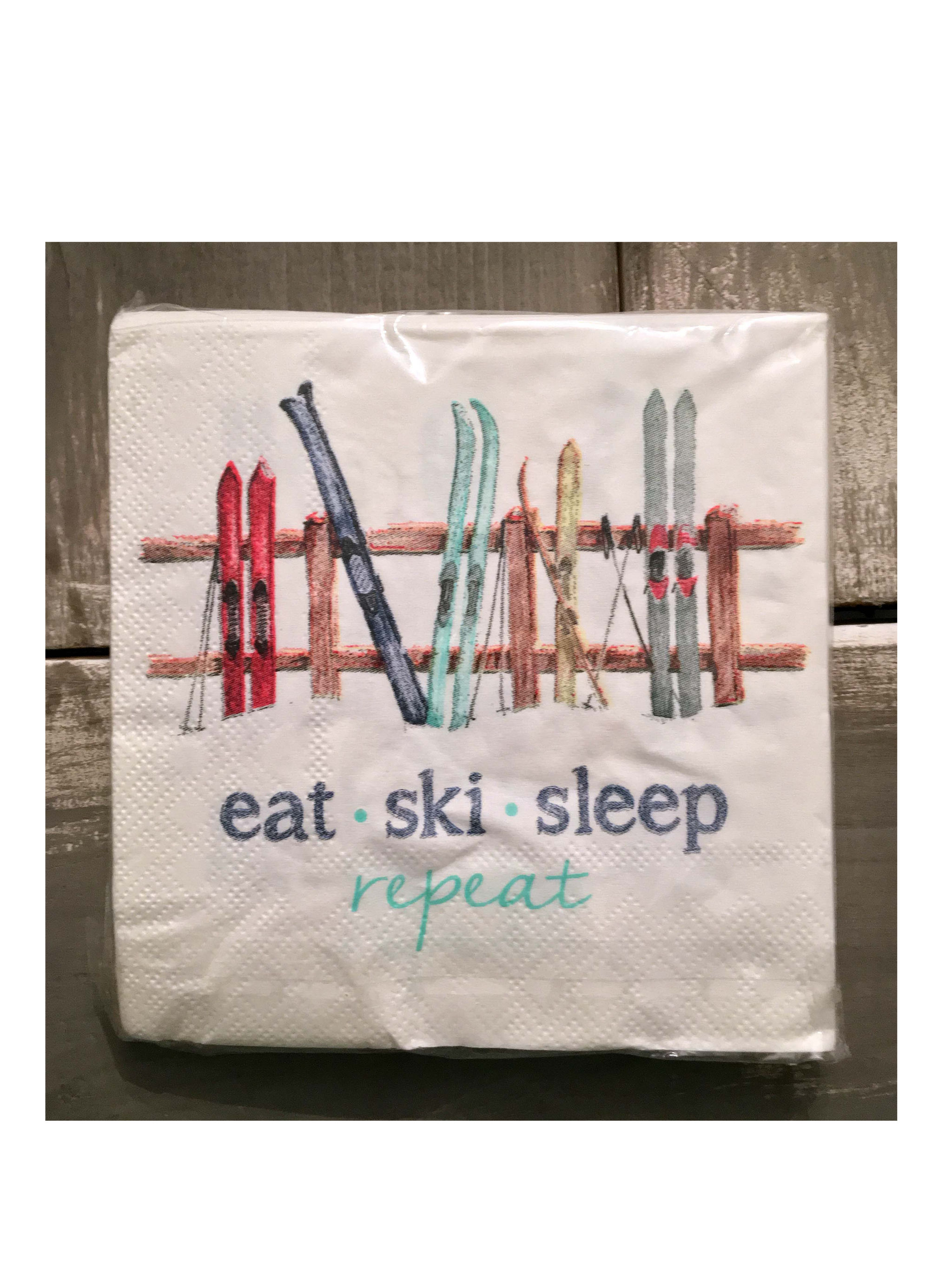Skis on Fence cocktail napkins