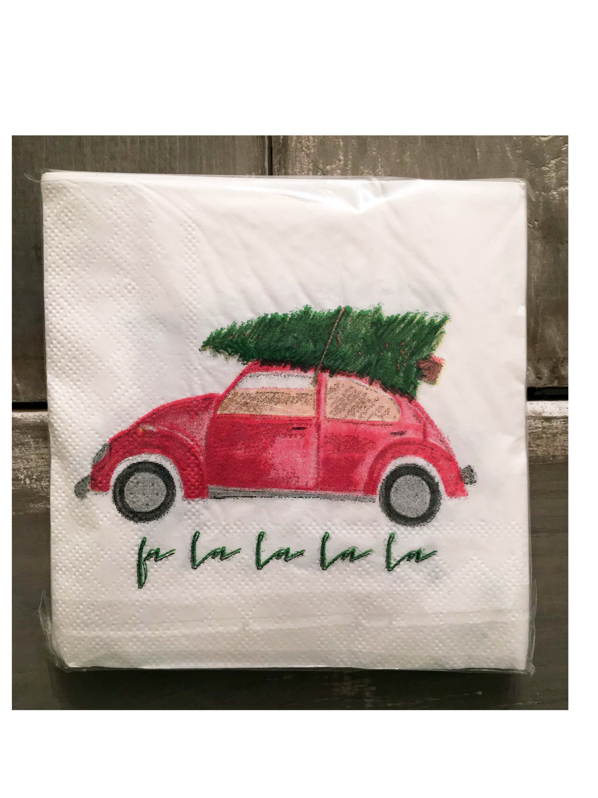 vw with tree cocktail napkins