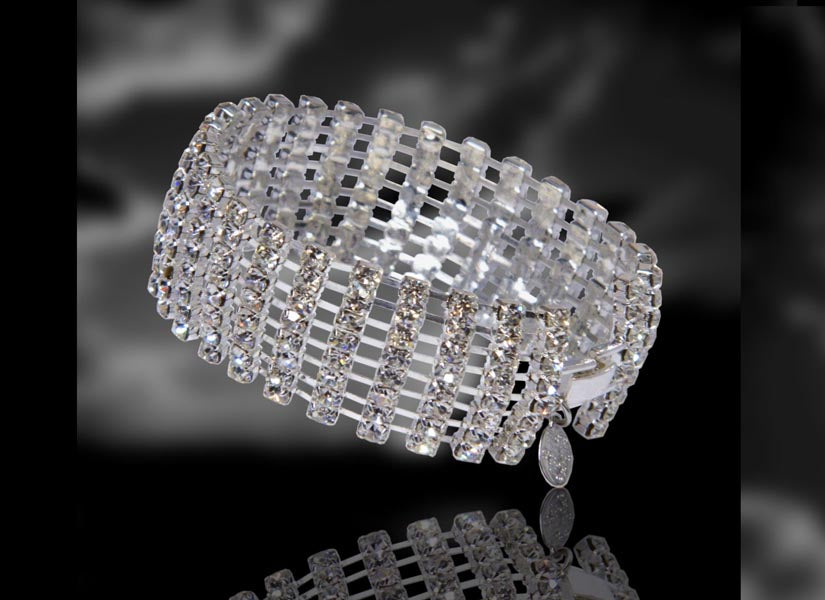 8 Row Rhinestone Bracelet All Clear Crystal signed by Albert Weiss Collection