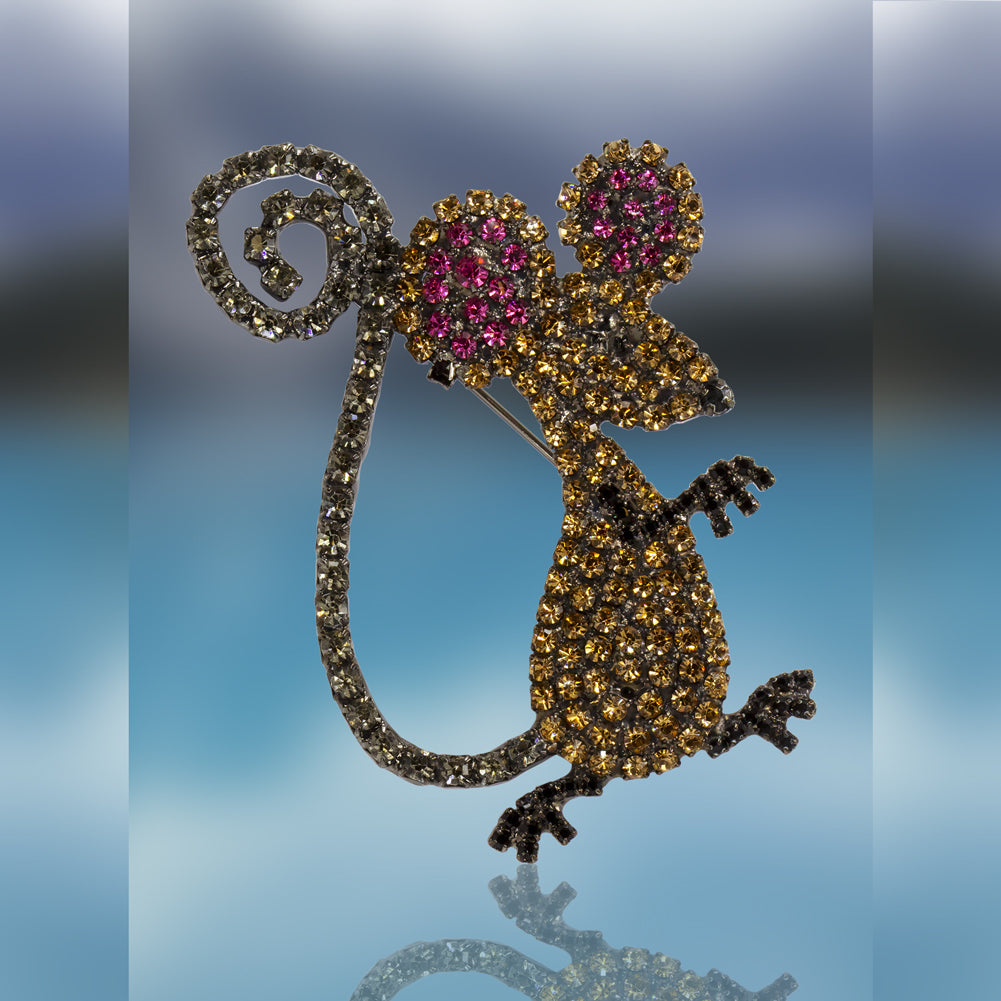 Mouse Pin with Swarovski Crystal Stones by Albert Weiss