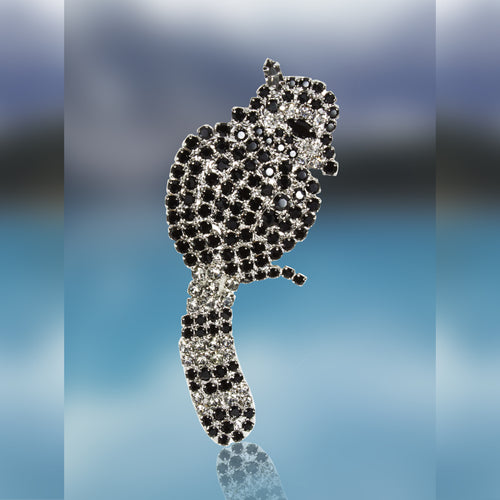 Raccoon Pin with Moving Tail in Swarovski Black Diamond and Jet Stones by Albert Weiss