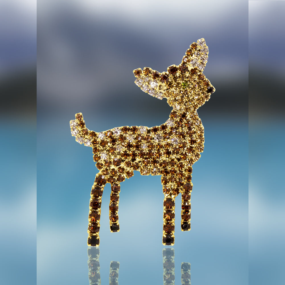 Fawn Pin with Swarovski Crystal Stones by Albert Weiss