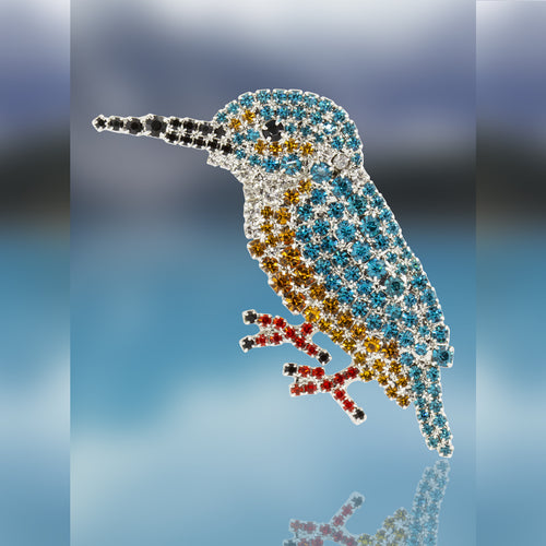 King Fisher Pin with Swarovski Crystal Stones by Albert Weiss