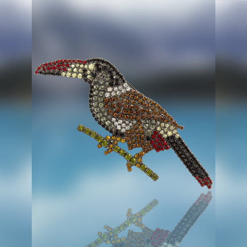 Toucan Pin with Swarovski Crystal Stones by Albert Weiss