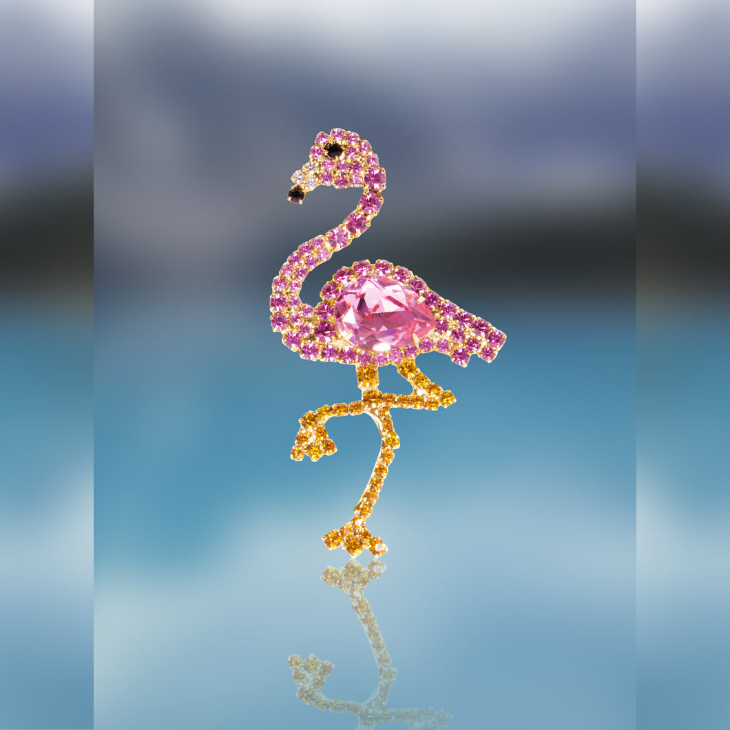 Pink Flamingo Pin with Swarovski Stones by Albert Weiss