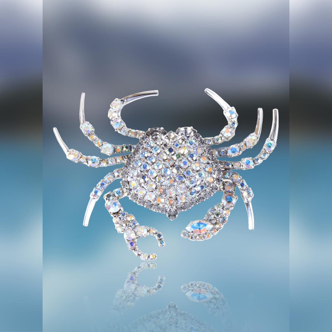 Crab Pin with Movable Claws with Swarovski Aurora Borealis Crystal by Albert Weiss