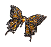 Butterfly Pin Movable Wings with Jet and Topaz Swarovski Stones by Albert Weiss - Albert Weiss Collection