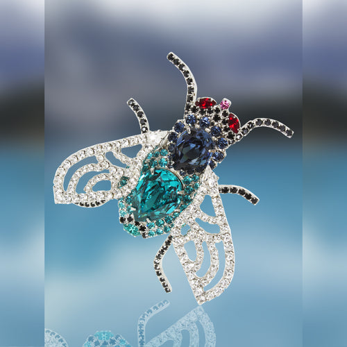 Fly Pin with Movable Wings using Swarovski Red, Black, Blue and Crystal Stones by Albert Weiss
