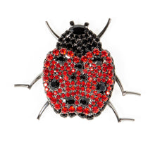 Ladybug Pin with Siam and Jet Swarovski Stones by Albert Weiss - Albert Weiss Collection