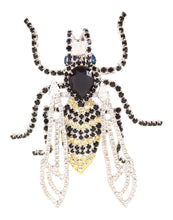 Bee Pin with Movable Wings Yellow, Black and Swarovski Crystal by Albert Weiss - Albert Weiss Collection
