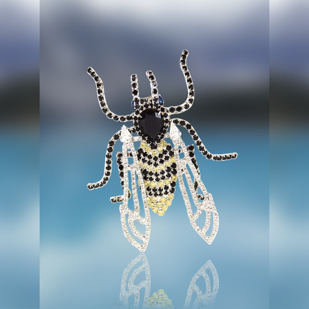 Bee Pin with Movable Wings Yellow, Black and Swarovski Crystal by Albert Weiss
