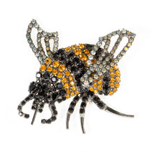 Bumble Bee Pin Using Jet and Topaz Swarovski Stones with Movable Wings by Albert Weiss - Albert Weiss Collection
