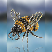Bumble Bee Pin Using Jet and Topaz Swarovski Stones with Movable Wings by Albert Weiss
