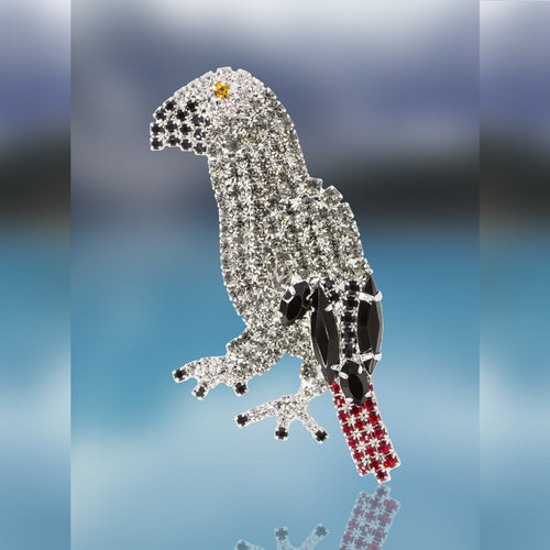 African Gray Parrot Pin with Swarovski Crystal Stones by Albert Weiss