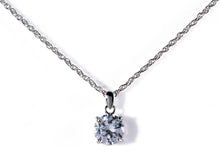 Albert Weiss Weiss CZ Solitaire Adjustable Necklace Rhodium Plated - Simulated Diamond Basket Prong - 6MM Stone - Albert Weiss Collection