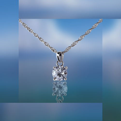 Albert Weiss Weiss CZ Solitaire Adjustable Necklace Rhodium Plated - 6MM Stone