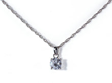 Albert Weiss Weiss CZ Solitaire Adjustable Necklace Rhodium Plated - Simulated Diamond Basket Prong - 8MM Stone - Albert Weiss Collection