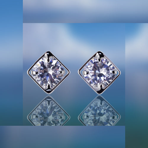 #16417 - Weiss CZ Earrings Rhodium Plated - Channel Style