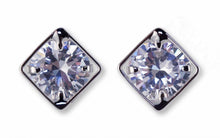 #16417 - Weiss CZ Earrings Rhodium Plated - Channel Style - Albert Weiss Collection