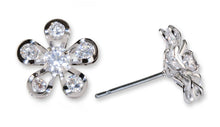 #16418 - Weiss CZ Earrings Rhodium Plated - Daisy Flower - Albert Weiss Collection