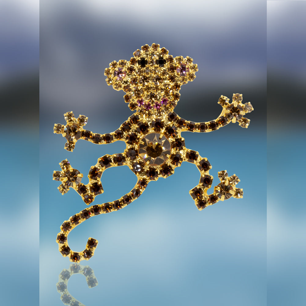 Monkey Pin with Swarovski Crystal Stones by Albert Weiss