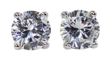 Weiss CZ Earrings Rhodium Plated - Simulated Diamond Basket Prong - Albert Weiss Collection