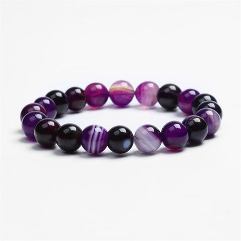 Purple Agate 10mm Beads Bracelet
