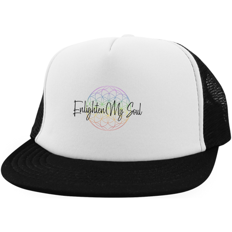 Enlighten My Soul Logo Trucker Hat with Snapback - White