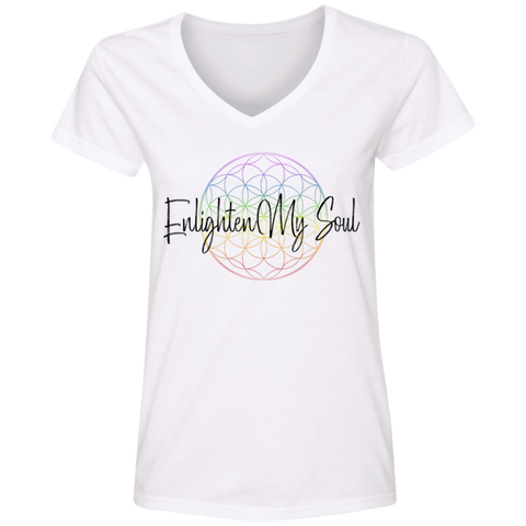 Enlighten My Soul Logo V-Neck T-Shirt - White