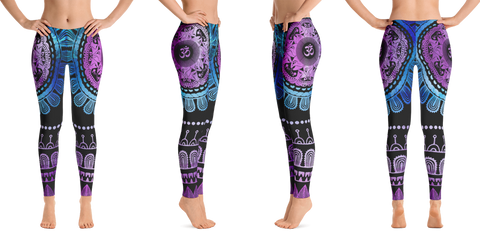 OM Blue Purple Yoga Leggings